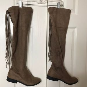 Tan Faux Suede Over The Knee Boots